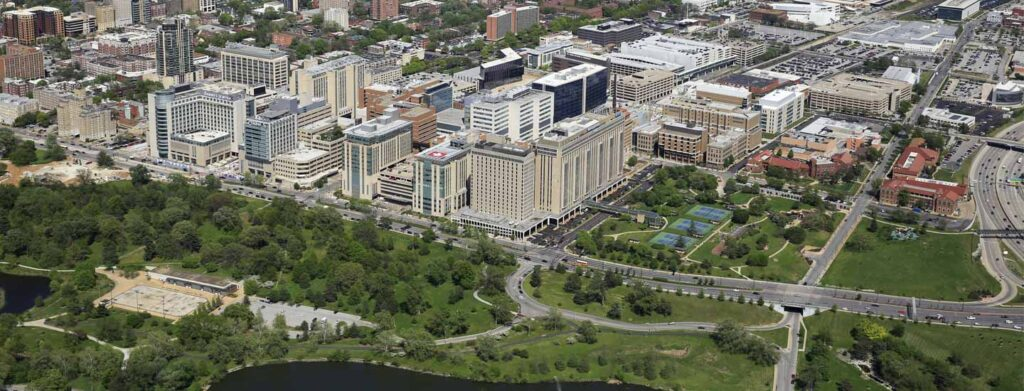 washington university school of medicine in st. louis and forest park aerial view